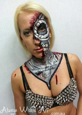 Body Painting Cyborg Halloween Shooters Superclub Gold Coast Brisbane Melbourne Australia