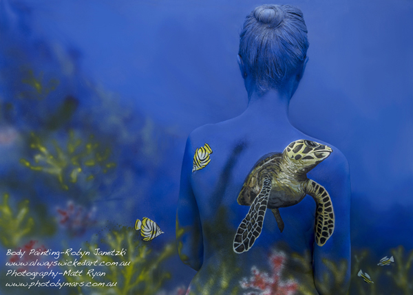 Green-turtle-body-painting-save-the-reef-body-art-gold-coast-brisbane-australia