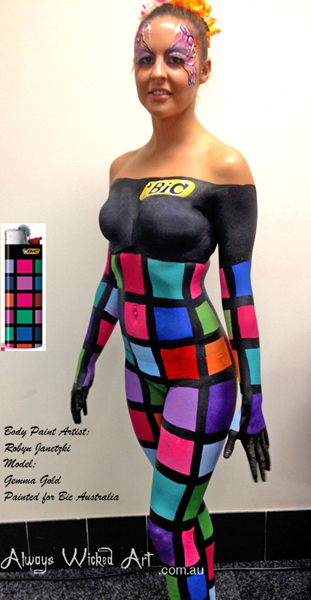 bic-australia-promo-girl-body-painting
