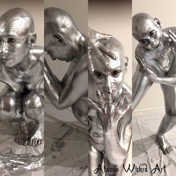 Silver , body, painting , metallic, human, statue, body, painter, gold coast, brisbane, australia