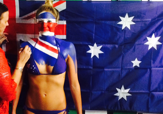 Body-Painting-Australian-Flag-newscorp-Australia-Day-newspaper-art-Brisbane-Queensland-Melbourne